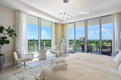 Master bedroom and expansive terrace boasting ocean and Singer Island views