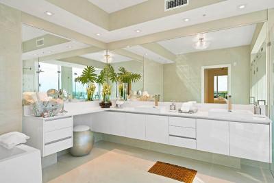 Amrit luxury master bathroom vanity with quartz stone countertops