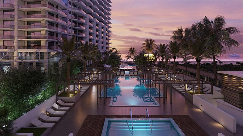 Oceanfront resort pools