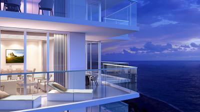 Oceanfront terraces night time rendering